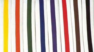 White Belts with Colored Stripes