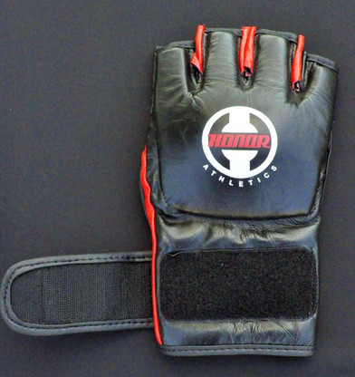 """Designed to meet the needs of the professional cage fighter. Open palm and thumb for additional mobility and grip. 1/2 """" padding over the knuckle, the required hand protection for the pros. 4oz. weight.100% Leather."""
