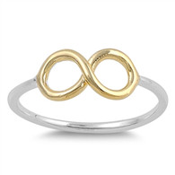 Two Tone Sterling Silver Infinity Ring