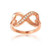 Rose Gold Plated Sterling Silver Half CZ Heart Infinity Ring