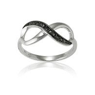 Infinity Ring with Black Cubic Zirconia