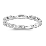 Sterling Silver Classy Eternity Band Ring with Clear Simulated Crystals on Channel Setting with Rhodium Finish, Band Width 2MM