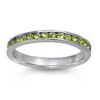 Sterling Silver Classy Eternity Band Ring with Peridot Green Swarovski Simulated Crystals on Channel Setting with Rhodium Finish, Band Width 3MM
