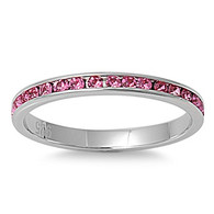 Sterling Silver Classy Eternity Band Ring with Rose Pink Swarovski Simulated Crystals on Channel Setting with Rhodium Finish, Band Width 2MM