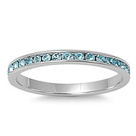 Sterling Silver Classy Eternity Band Ring with Aquamarine Swarovski Simulated Crystals on Channel Setting with Rhodium Finish, Band Width 2MM