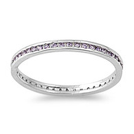Sterling Silver Classy Eternity Band Ring with Amethyst Simulated Crystals on Channel Setting with Rhodium Finish, Band Width 2MM