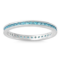 Sterling Silver Classy Eternity Band Ring with Blue Topaz Simulated Crystals on Channel Setting with Rhodium Finish, Band Width 2MM