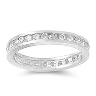 Sterling Silver Classy Eternity Band Ring with Clear Simulated Crystals
