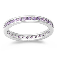 Sterling Silver Classy Eternity Band Ring with Amethyst Simulated Crystals