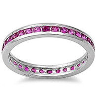 Sterling Silver Classy Eternity Band Ring with Ruby Simulated Crystals