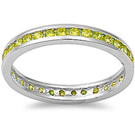 Sterling Silver Classy Eternity Band Ring with Peridot Simulated Crystals