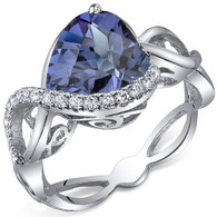 Swirl Design 4.00 Carats Heart Shape Alexandrite Sterling Silver Ring