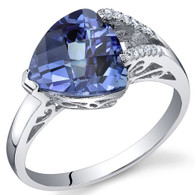 Dazzling Color 3.50 Carats Trillion Alexandrite Sterling Silver Ring