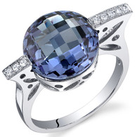 Double Checkerboard 7.00 Carats Alexandrite Sterling Silver Ring
