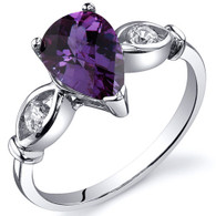 3 Stone 1.75 carats Alexandrite Sterling Silver Ring