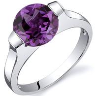 Bezel Set 2.75 carats Alexandrite Engagement Sterling Silver Ring