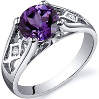 Cathedral Design 1.75 carats Alexandrite Solitaire Sterling Silver Ring