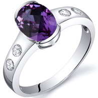 Elegant 1.75 carats Alexandrite Half Bezel Solitaire Sterling Silver Ring
