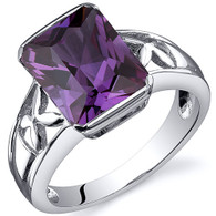 Large Radiant Cut 4.25 carats Alexandrite Solitaire Sterling Silver Ring
