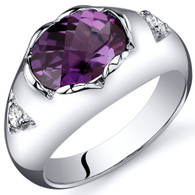 Oval 2.50 carats Alexandrite Sterling Silver Ring