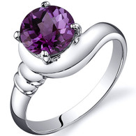 Smooth Seduction 1.75 carats Alexandrite Solitaire Sterling Silver Ring