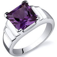 Step Design Princess Cut 3.25 carats Alexandrite Sterling Silver Ring