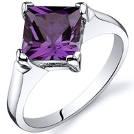 Striking 2.25 carats Alexandrite Engagement Sterling Silver Ring