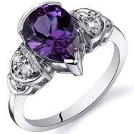 Tear Drop 2.50 carats Alexandrite Solitaire Engagement Sterling Silver Ring