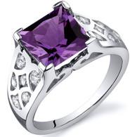 V Prong Princess Cut 3.00 carats Alexandrite Sterling Silver Ring