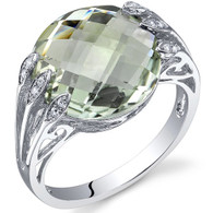 5.00 Carats Double Checkerboard Cut Green Amethyst Sterling Silver Ring