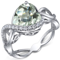 Swirl Design 3.00 Carats Heart Shape Green Amethyst Sterling Silver Ring