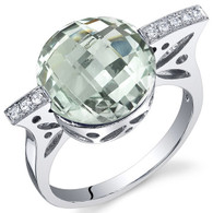 Double Checkerboard 4.50 Carats Green Amethyst Sterling Silver Ring