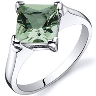 Striking 1.50 carats Green Amethyst Engagement Sterling Silver Ring