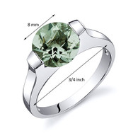 Bezel Set 1.75 carats Green Amethyst Engagement Sterling Silver Ring