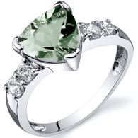 Solitaire Style 1.50 carats Green Amethyst Cubic Zirconia Sterling Silver Ring