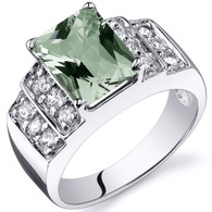 Radiant Cut 2.00 carats Green Amethyst Cubic Zirconia Sterling Silver Ring