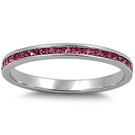 Sterling Silver Classy Eternity Band Ring with Rose Pink Swarovski Simulated Crystals