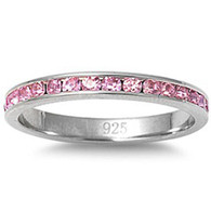Sterling Silver Classy Eternity Band Ring with Pink Swarovski Simulated Crystals