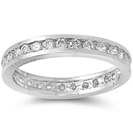 Sterling Silver Classy Eternity Band Ring with Clear Swarovski Simulated Crystals 3mm