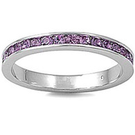 Sterling Silver Classy Eternity Band Ring with Light Amethyst Swarovski Simulated Crystals