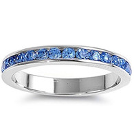 Sterling Silver Classy Eternity Band Ring with Blue Topaz Simulated Crystals