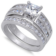 Sterling Silver Clear Princess Cut Simulated Diamond Aprx .75 Carat Bridal Set
