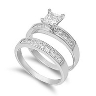 Sterling Silver Bridal Set with Clear Princess Cut Solitaire Simulated Diamond with Classy Princess Cut Simulated Diamond