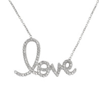 Sterling Silver Cursive Love Necklace