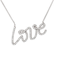 Sterling Silver Love Necklace with CZ