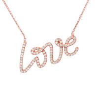 Rose Gold Plated Sterling Silver Love Necklace with CZ