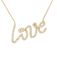 Gold Plated Sterling Silver Love Necklace with CZ