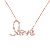 Rose Gold Plated Sterling Silver Cursive Love Necklace