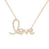 Gold Plated Sterling Silver Cursive Love Necklace