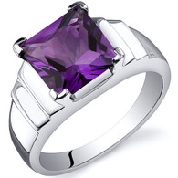 Step Design Princess Cut 2.25 carats Amethyst Sterling Silver Ring